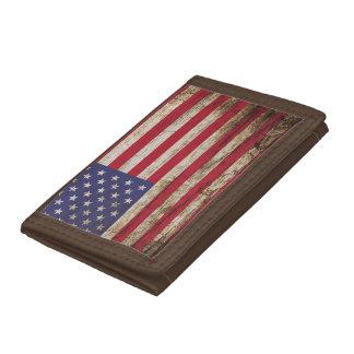 American United States Rustic Flag Tri-fold Wallets