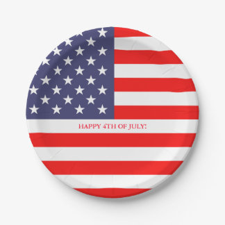 American US flag 4th of July paper party plates 7 Inch Paper Plate
