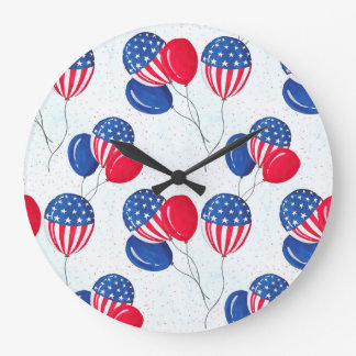 American USA Flag Balloon Patriotic July 4th Large Clock