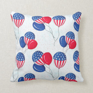 American USA Flag Balloon Patriotic July 4th Throw Pillow