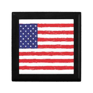American USA Flag *Hand Sketch* Us Flag Trinket Boxes