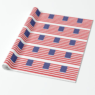 American USA Flag *Hand Sketch* Us Flag Wrapping Paper