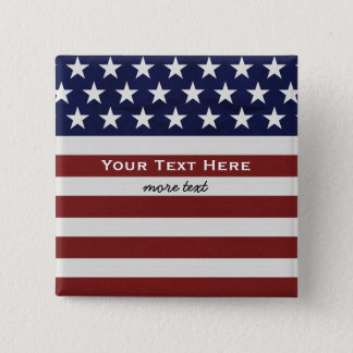 American USA Flag Patriotic July 4th Custom 2 Inch Square Button