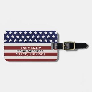 American USA Flag Patriotic July 4th Custom Bag Tag
