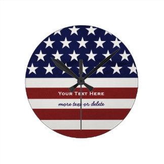 American USA Flag Patriotic July 4th Custom Round Clock
