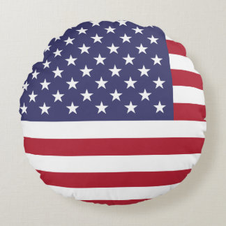 American USA Flag Patriotic July 4th Round Pillow