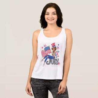 American USA Flag Patriotic July 4th Tank Top