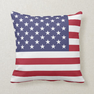American USA Flag Patriotic July 4th Throw Pillow
