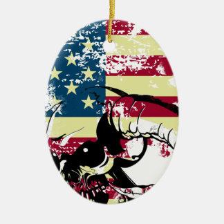 American USA Skull Ceramic Oval Ornament