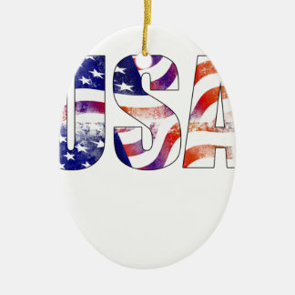 American USA Text National Flag Independence Day 4 Ceramic Oval Ornament