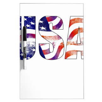 American USA Text National Flag Independence Day 4 Dry Erase Whiteboards