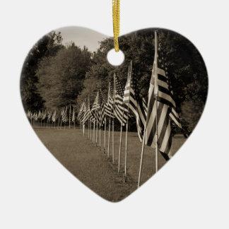 American Veteran Flags Ceramic Heart Ornament