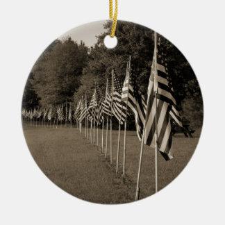 American Veteran Flags Round Ceramic Ornament