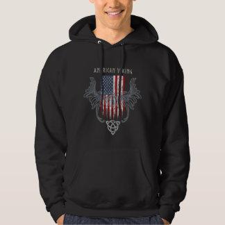 American Viking. Flag, Distressed, Celtic Helmet Hoodie