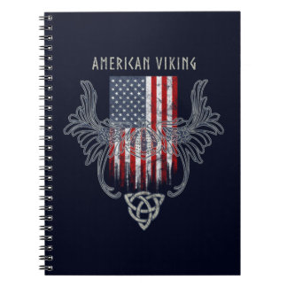 American Viking. Flag, Distressed, Celtic Helmet Spiral Notebook