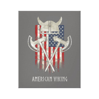 American Viking. Flag, Distressed, Helmet, Ax Canvas Print