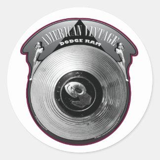 AMERICAN VINTAGE DODGE RAM HUBCAP ROUND STICKER