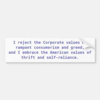 American vs. Corporate Values Bumper Sticker