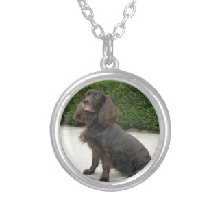 American Water Spaniel Dog Silver Plated Necklace