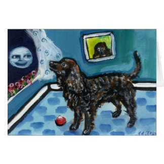 American Water Spaniel sees smiling moon Card