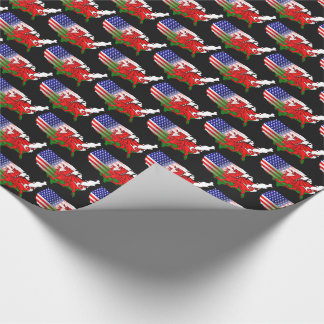 American Welsh Flags Map Gift Wrap