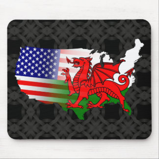 American Welsh Flags Map Mousemat Mouse Pad