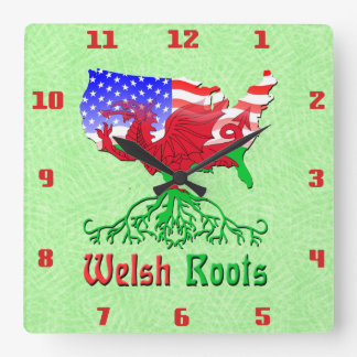 American Welsh Roots Square Wall Clock