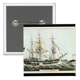 American Whaler, engraved by Nathaniel Currier 2 Inch Square Button