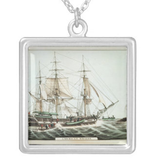 American Whaler, engraved by Nathaniel Currier Silver Plated Necklace