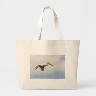 American White Pelican Cruising Large Tote Bag
