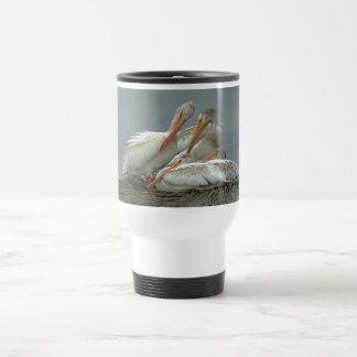 American White Pelicans -Pelecanus erythrorhynchos 15 Oz Stainless Steel Travel Mug