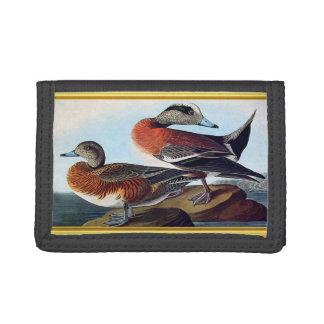 American Widgeon ducks on a rock Tri-fold Wallet