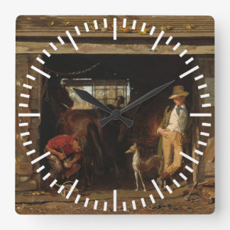 American Wild West Blacksmith and Cowboy Square Wall Clock