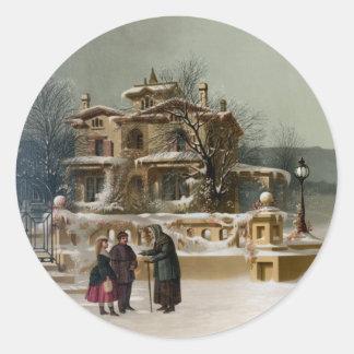 American Winter Scene Round Stickers