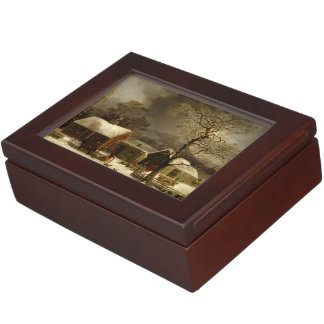 American Winter Wooden Keepsake Box