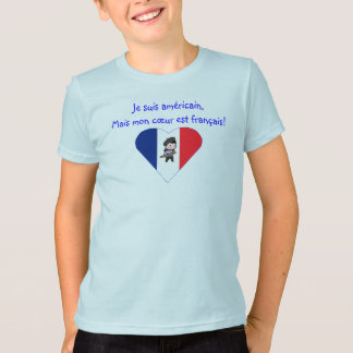 American with French Heart - Kids T-Shirt