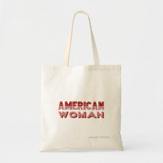 """""""American Woman"""" Red Flag Type Tote Bag"""