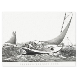 Americana Blue Fish Sea Fishing Tissue Paper