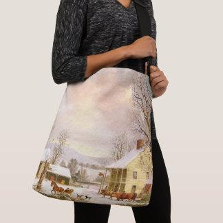 Americana Durrie Snow Horse Sleigh Tote Bag
