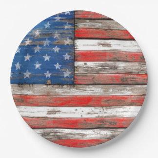 Americana Flag 9 Inch Paper Plate