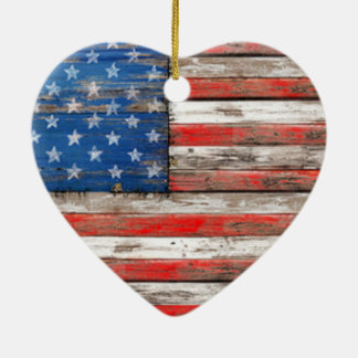 Americana Flag Ceramic Ornament