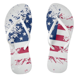 Americana Flag Design Flip Flops