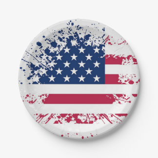 Americana Flag Design Paper Plates 7 Inch Paper Plate