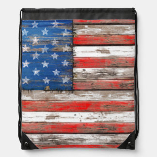 Americana Flag Drawstring Bag