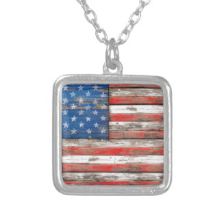 Americana Flag Silver Plated Necklace