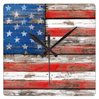 Americana Flag Square Wall Clock