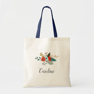 Americana Floral | Personalized Tote Bag