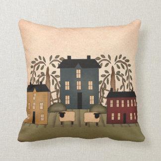 Americana Folk Art Houses Pillow