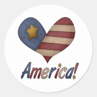 Americana Heart Classic Round Sticker