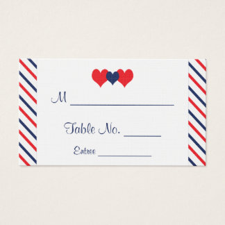 Americana Hearts Wedding Place Cards